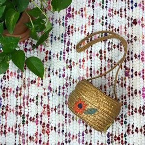 Vintage Floral Straw Circle Purse Shoulder Bag